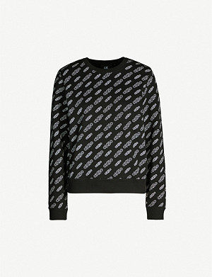 CALVIN KLEIN Brand-print relaxed-fit cotton-jersey sweatshirt