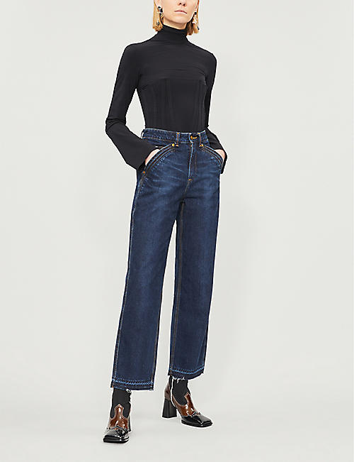 SELF PORTRAIT Self Portrait x Lee cropped high-rise straight jeans