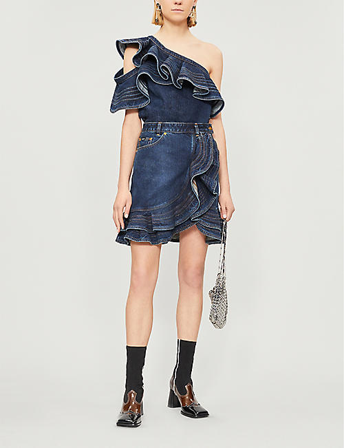 SELF PORTRAIT Self Portrait x Lee one-shoulder ruffled faded denim top