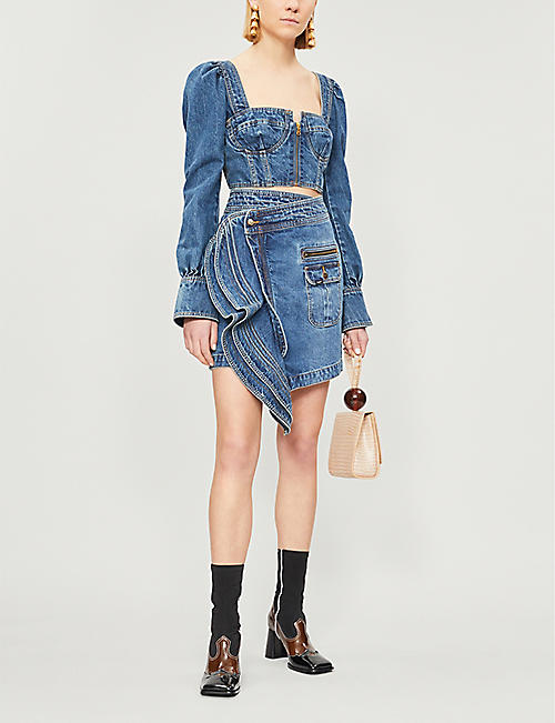 SELF PORTRAIT Self Portrait x Lee flared-cuff denim bustier top