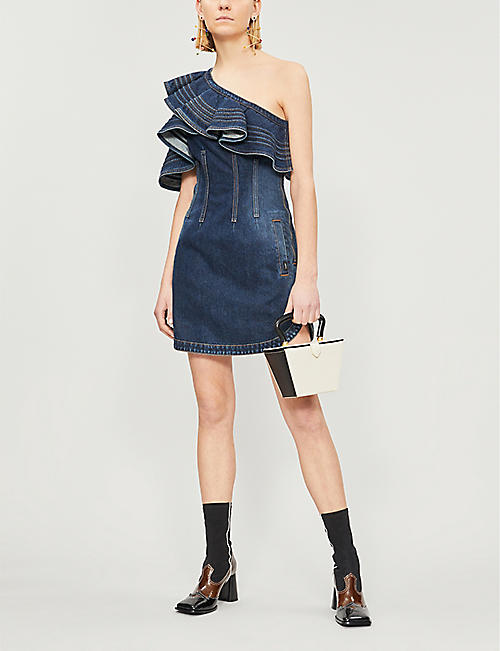 68ce88e062a SELF-PORTRAIT Self Portrait x Lee one-shoulder ruffled faded denim dress