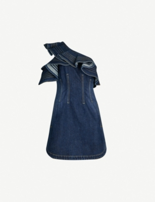 SELF PORTRAIT Self Portrait x Lee one-shoulder ruffled faded denim dress