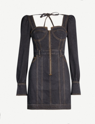 SELF PORTRAIT Self Portrait x Lee flared-cuff denim bustier mini dress
