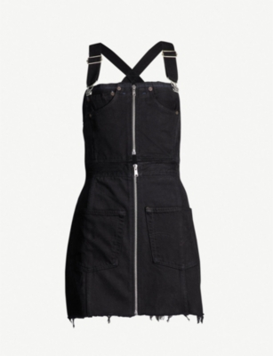RE/DONE Ripped zipped-front denim dress