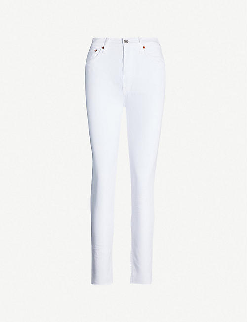 RE/DONE: Raw-hem high-rise skinny jeans