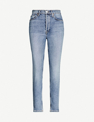 RE/DONE High-rise tapered stretch-denim jeans