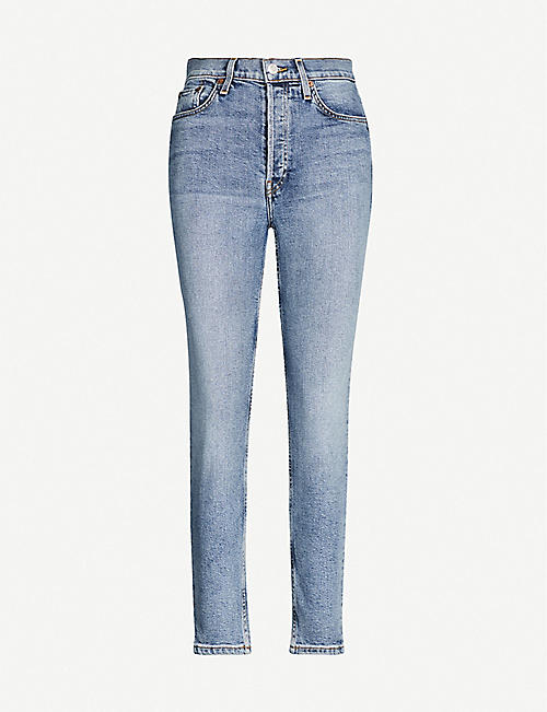 RE/DONE: High-rise tapered stretch-denim jeans