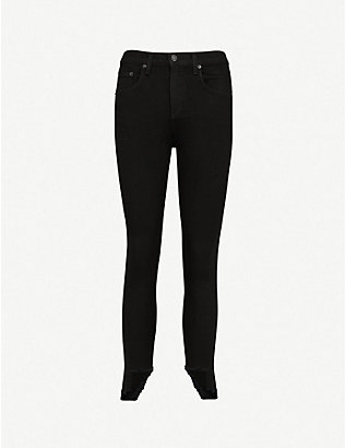 RAG & BONE: 10 Inch Capri skinny stepped-hem high-rise jeans