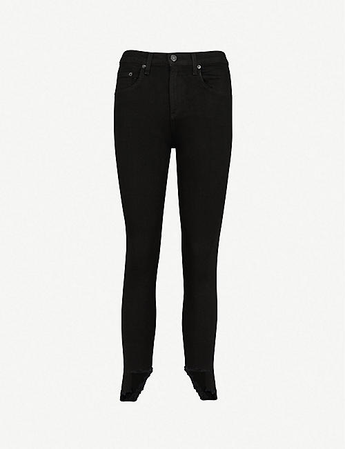 RAG & BONE 10 Inch Capri skinny stepped-hem high-rise jeans