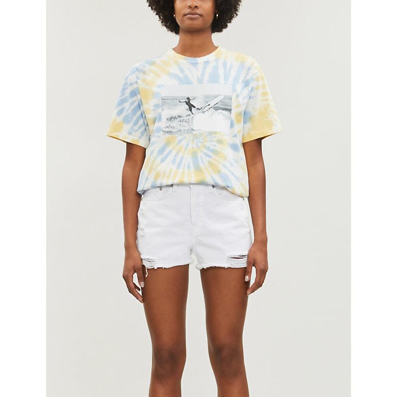 Rag & Bone Maya Ripped High-rise Denim Shorts In White Tabby