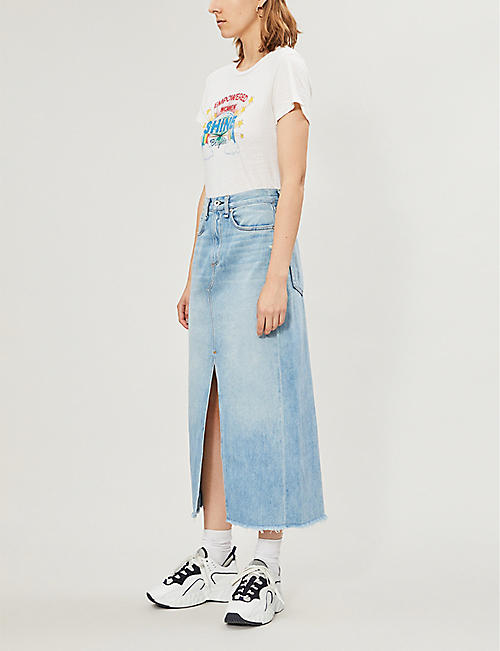 RAG & BONE Clyde split denim midi skirt
