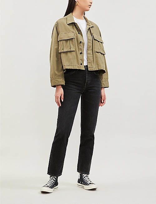 RAG & BONE Utility oversized cropped cotton jacket