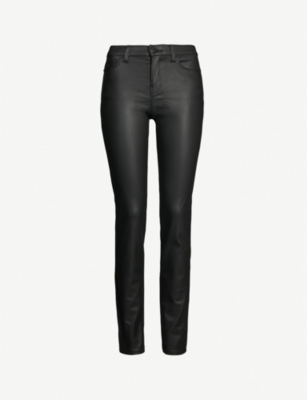 EMPORIO ARMANI High-rise skinny coated jeans