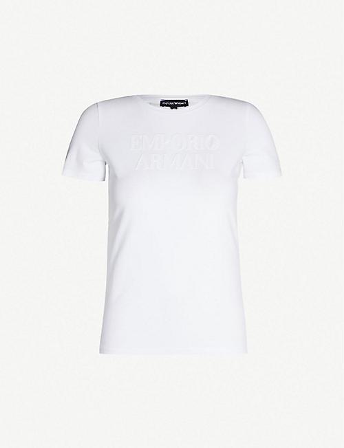 e91c70c4c157 EMPORIO ARMANI Sequinned-logo cotton-blend T-shirt