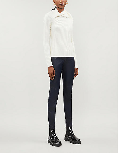 EMPORIO ARMANI Coated skinny low-rise jeans