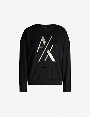 ARMANI EXCHANGE Metallic logo-print cotton-blend sweatshirt