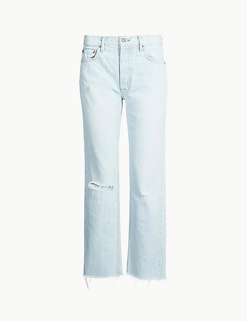 91ed4e48349 GRLFRND Helena ripped straight high-rise jeans