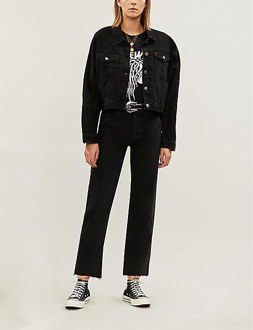 GRLFRND Helena straight-leg ripped-hem faded high-rise jeans