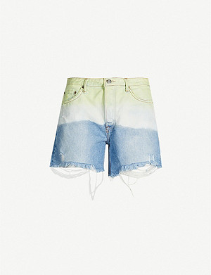 GRLFRND Jourdan tie-dye ripped denim shorts