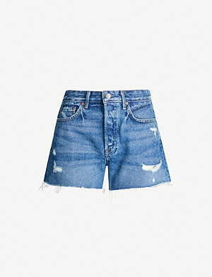 GRLFRND Helena ripped high-rise denim shorts