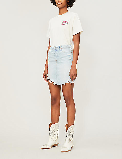GRLFRND Rhoda high-waisted denim mini skirt