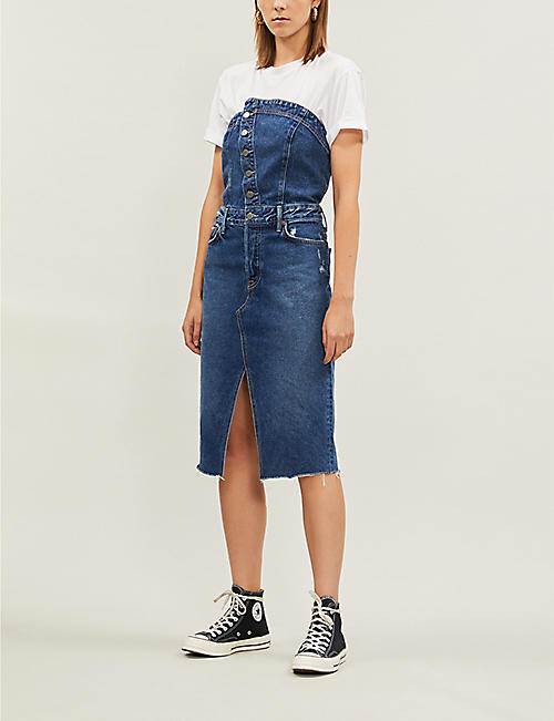 GRLFRND Nina asymmetric split-hem denim dress