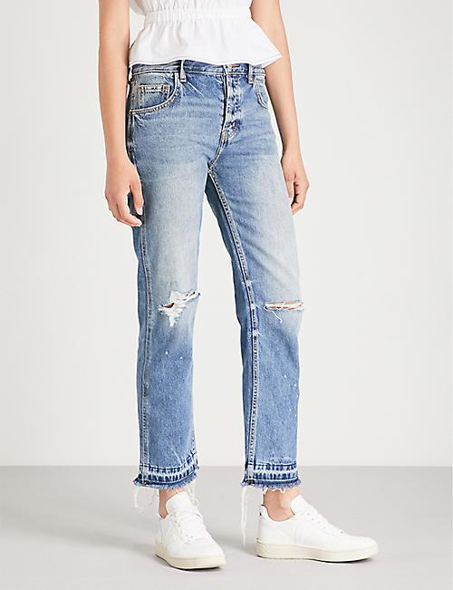 eaf2d8a3 CURRENT/ELLIOTT The Throwback Original slim-fit straight high-rise jeans