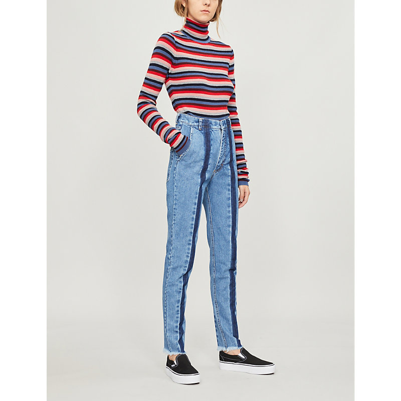 Ksenia Schnaider 前-条纹 褪色 高-上升 苗条-适合 牛仔裤