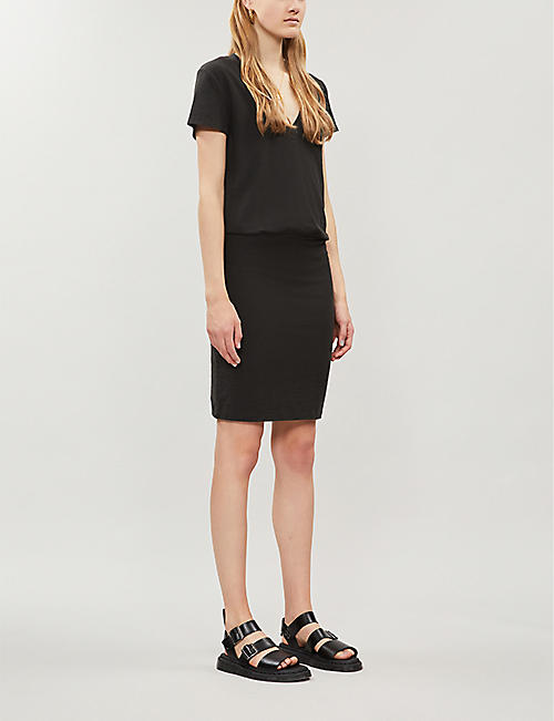 JAMES PERSE V-neck fitted stretch-cotton mini dress