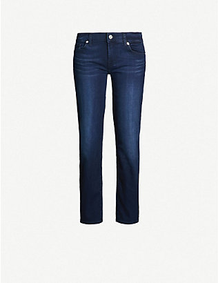 7 FOR ALL MANKIND: Roxanne Crop Bair slim mid-rise stretch-denim jeans