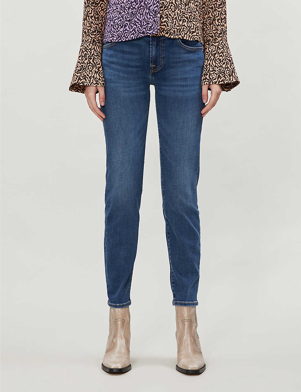 7 FOR ALL MANKIND: Roxanne Crop Bair slim-fit mid-rise jeans