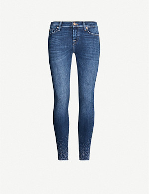 7 FOR ALL MANKIND The Skinny Crop crystal embellished skinny mid-rise jeans