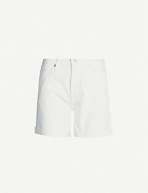7 FOR ALL MANKIND Rolled-up-hem high-rise denim shorts