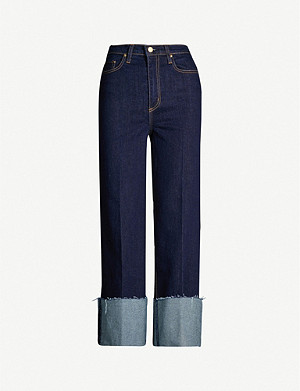 NOBODY DENIM Milla cropped wide high-rise jeans