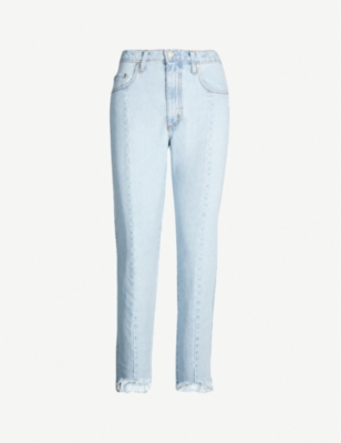NOBODY DENIM Faded cropped slim-fit high-rise jeans