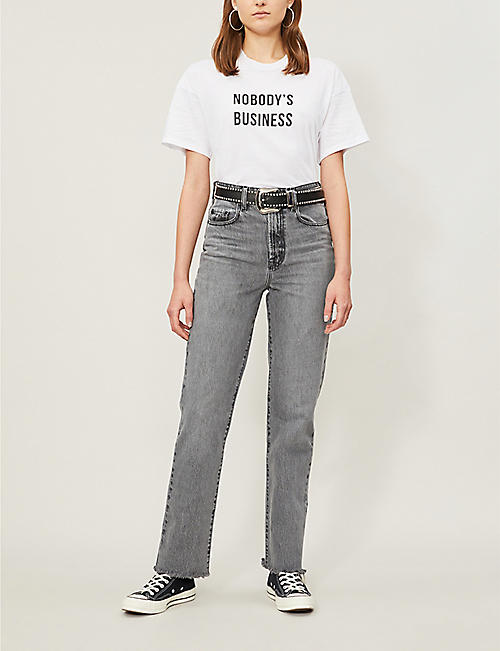 NOBODY DENIM 'Nobody's business' print cotton-jersey T-shirt