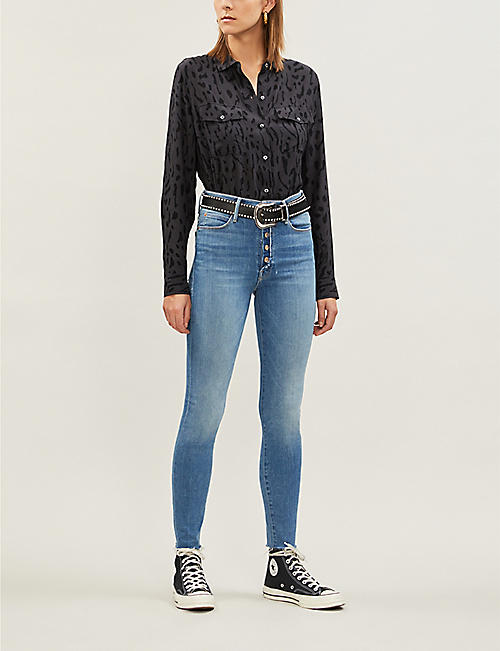 MOTHER The Fly Cut skinny faded high-rise jeans