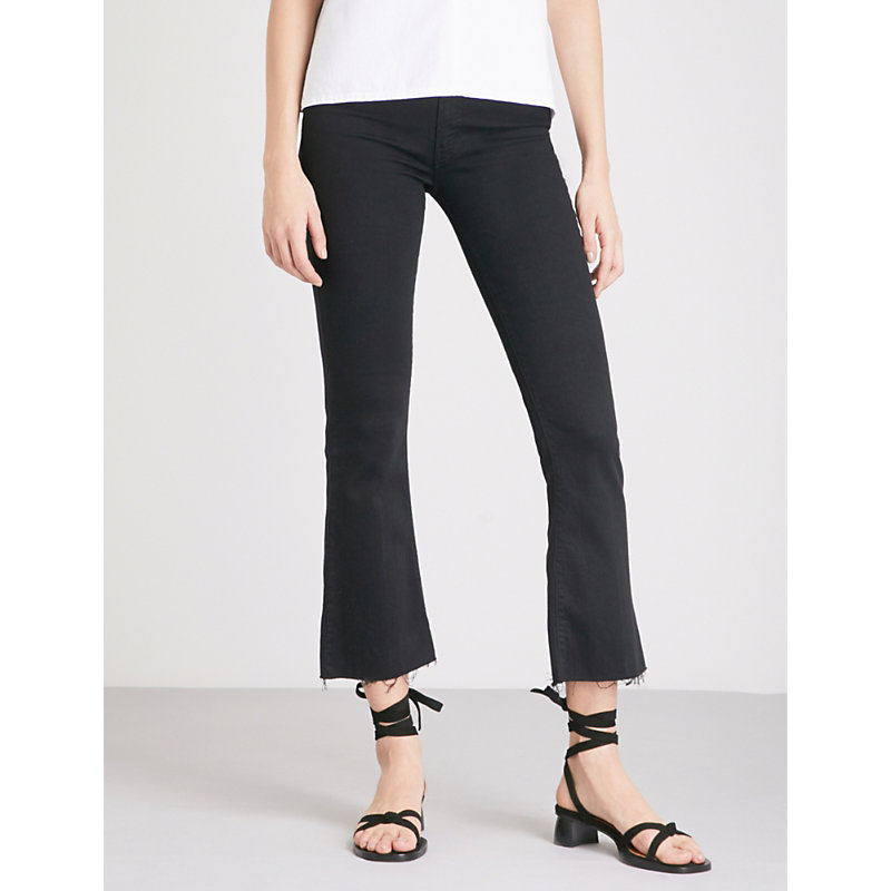 MOTHER | Hustler Ankle Fray Flared High-Rise Jeans | Goxip