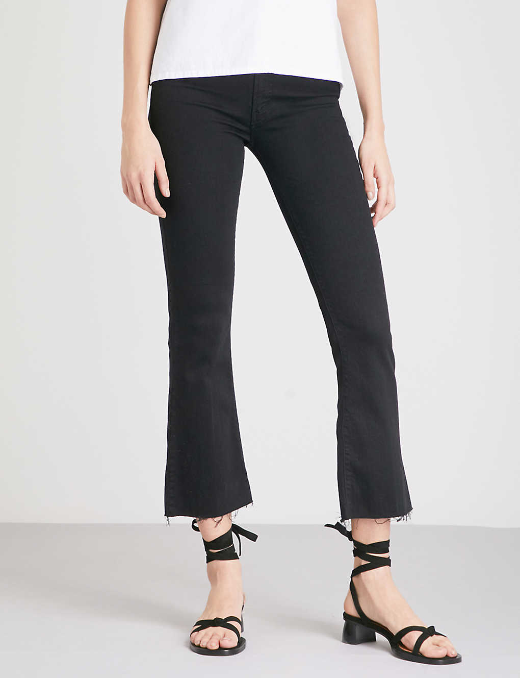 Mother Women's The Hustler High-rise Ankle Fray Jeans In Not+guilty