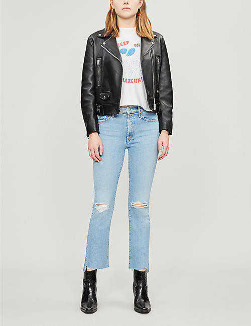 MOTHER The Insider cropped step frayed high-rise skinny jeans