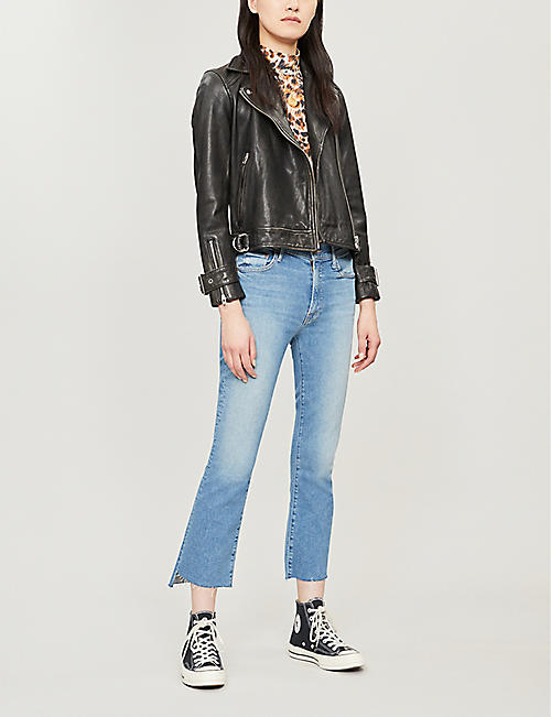 MOTHER Frayed step hem crop flare mid-rise jeans