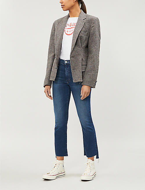 MOTHER Insider Crop stepped-hem straight jeans