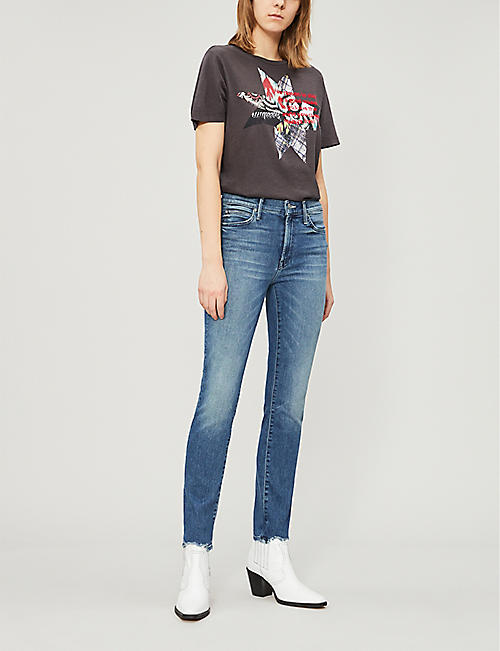 MOTHER The Rascal Ankle Chew frayed mid-rise slim-fit jeans