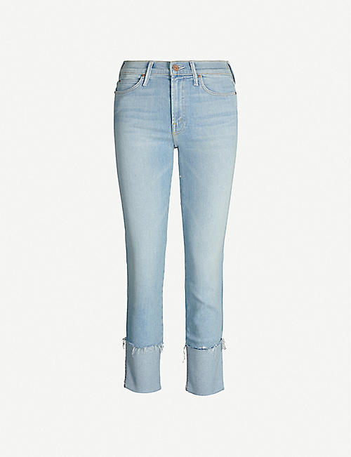 MOTHER The Pony Boy raw-hem straight faded high-rise jeans