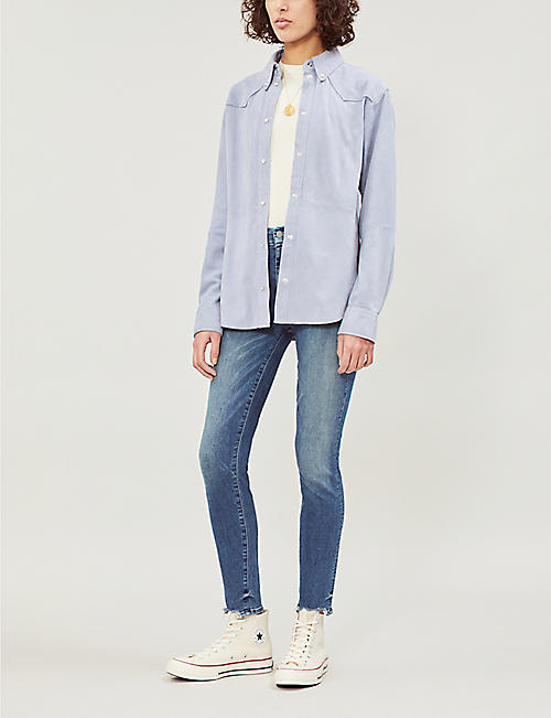 MOTHER Looker cropped mid-rise faded skinny jeans