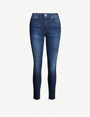 MOTHER The Looker high-rise skinny raw hem stretch-denim jeans