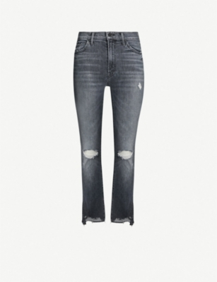 MOTHER Insider Chew ripped mid-rise slim-fit jeans