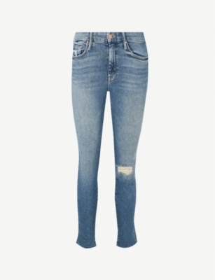 MOTHER The Looker ankle fray skinny mid-rise jeans