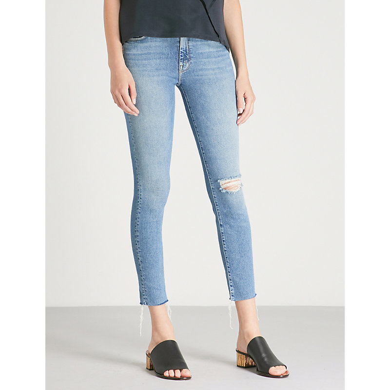MOTHER | The Looker Ankle Fray Skinny Mid-Rise Jeans | Goxip