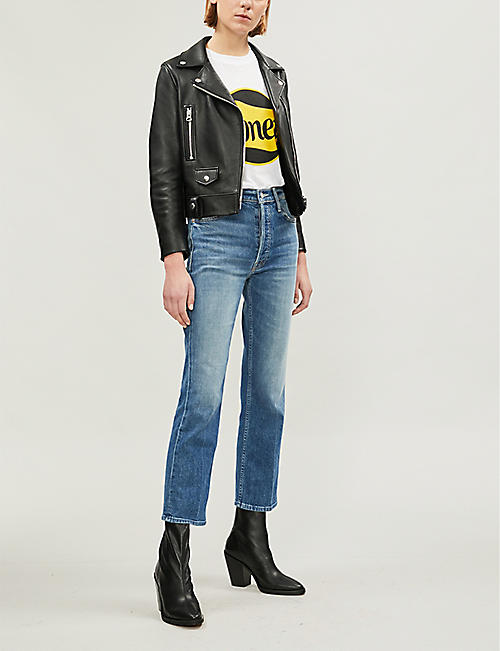 MOTHER The Tripper Ankle slim-fit flared high-rise jeans